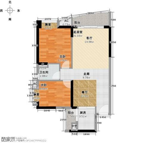 晟大海湾城2室0厅1卫1厨81.00㎡户型图