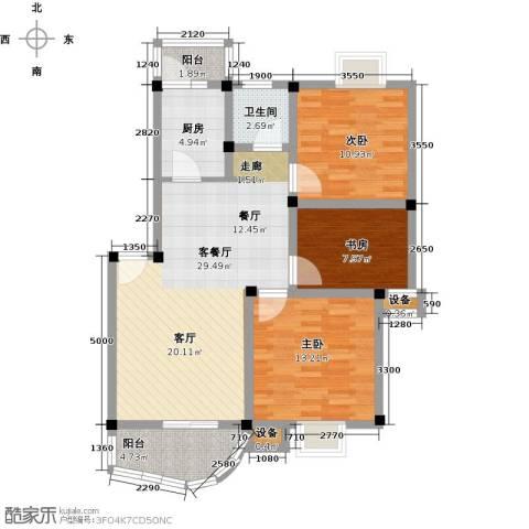 汉口人家(二期)3室1厅1卫1厨96.00㎡户型图