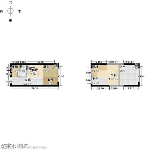大唐世家二期(大唐520)1卫0厨48.77㎡户型图