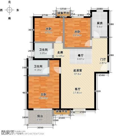 朝阳翡翠城3室0厅2卫1厨108.00㎡户型图
