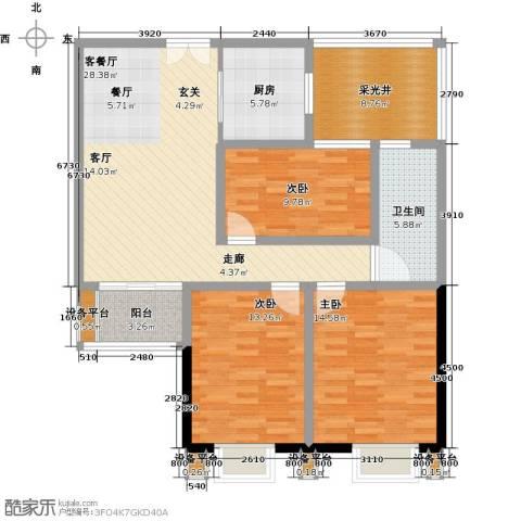 洋河梧桐公馆3室1厅1卫1厨131.00㎡户型图