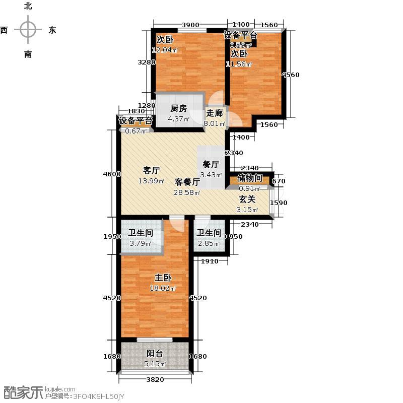 燕西台(八号公馆)102.48㎡C4户型 三室两厅两卫户型3室2厅2卫