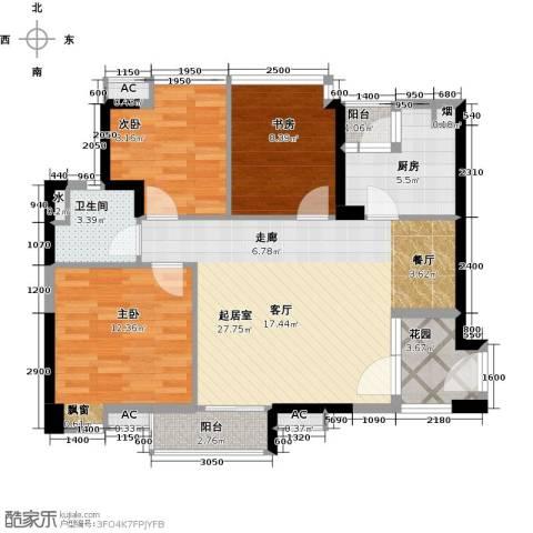 晟大海湾城3室0厅1卫1厨88.00㎡户型图