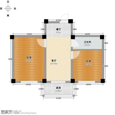 瑞士风情小镇三期1厅1卫1厨58.00㎡户型图