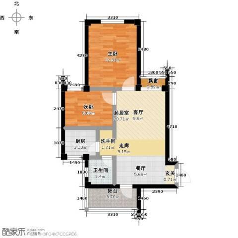 丽水康城(一期)2室0厅1卫1厨94.00㎡户型图