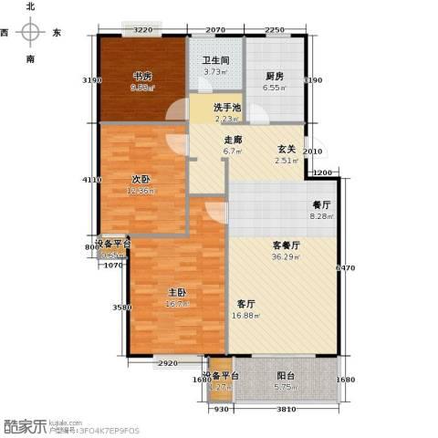 赞成.湖畔居3室1厅1卫1厨101.00㎡户型图