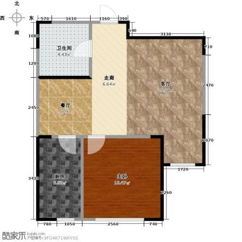 龙润・福湾国际1室1厅1卫1厨50.00㎡户型图