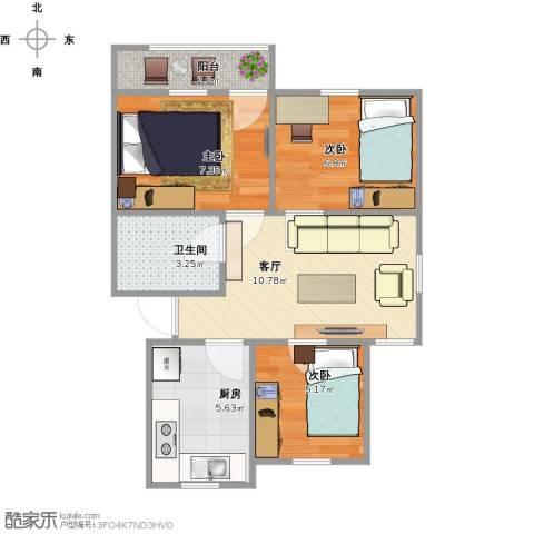 清泰小区3室1厅1卫1厨45.79㎡户型图