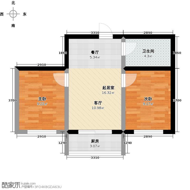 �湾雅苑�湾雅苑多层两室两厅一卫约59平米户型图户型2室2厅1卫