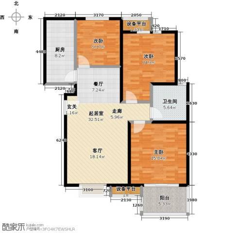 朝阳翡翠城3室0厅1卫1厨105.00㎡户型图