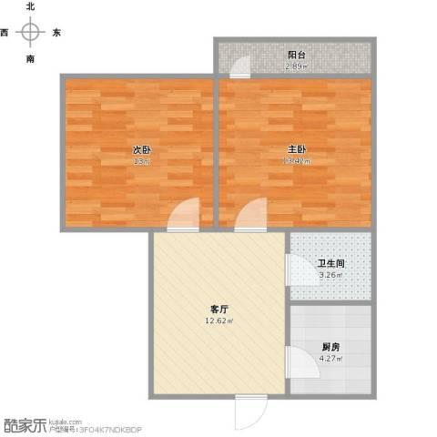 长盛小区2室1厅1卫1厨67.00㎡户型图