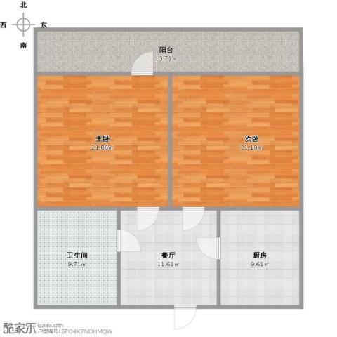 长盛小区2室1厅1卫1厨117.00㎡户型图