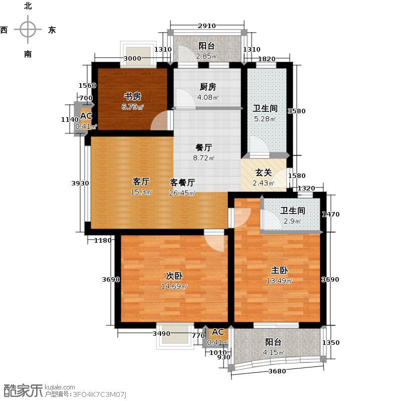 汉口人家(一期)97.00㎡房型: 三房; 面积段: 97 -128 平方米;户型