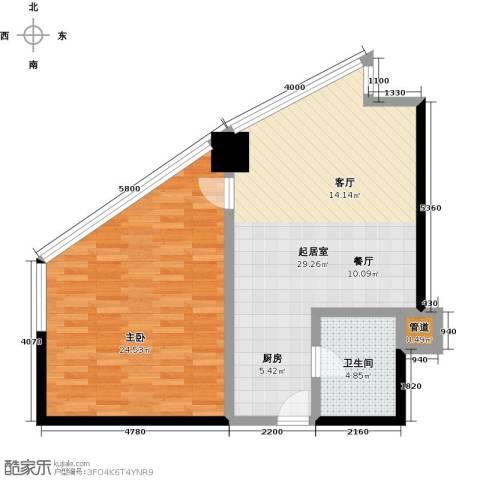 中海龙港(BOBO国际)1室0厅1卫0厨62.00㎡户型图