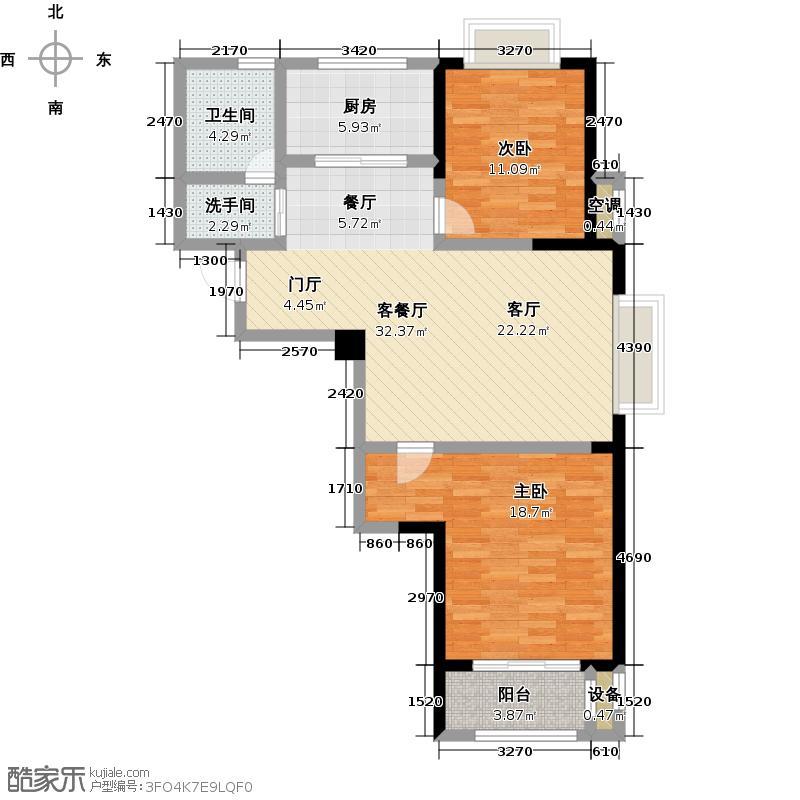 港龙华侨城1#C 92平米户型2室2厅1卫