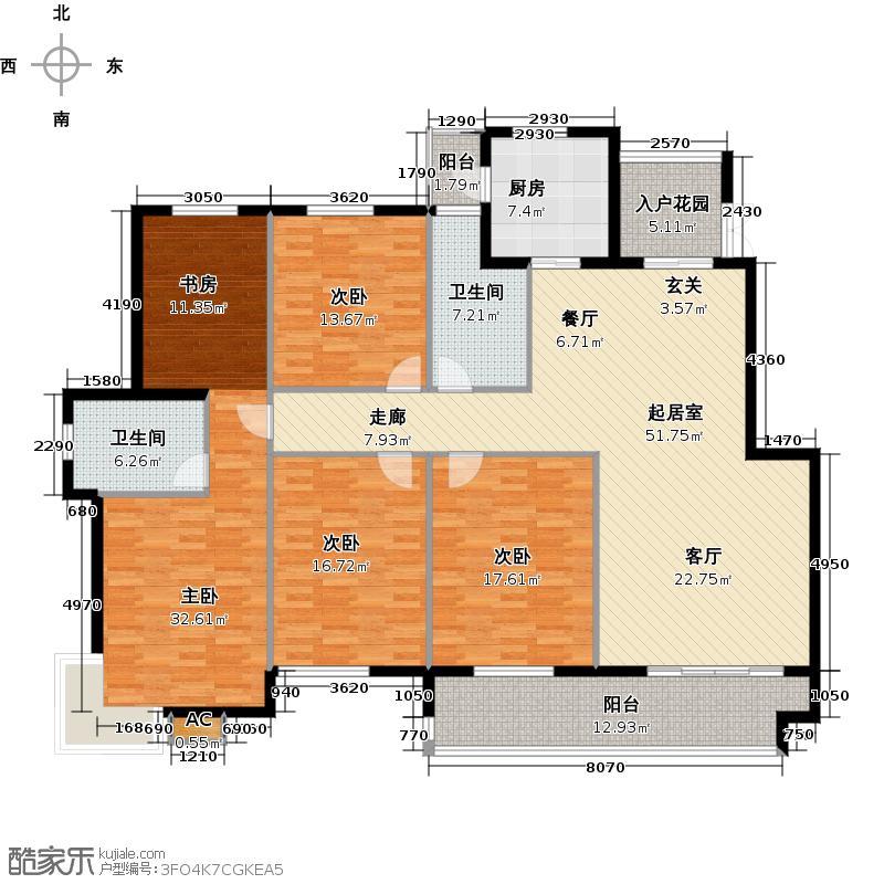 外滩名门五室两厅两卫,192M2户型