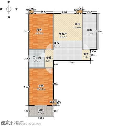 满城中景华庭2室1厅1卫1厨101.00㎡户型图