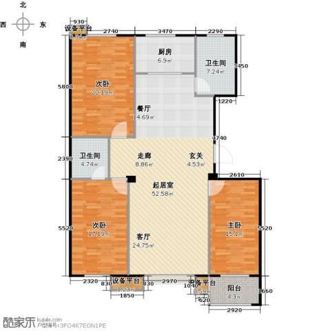 满城中景华庭3室0厅2卫1厨140.00㎡户型图