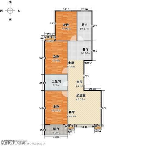满城中景华庭3室0厅1卫1厨135.00㎡户型图