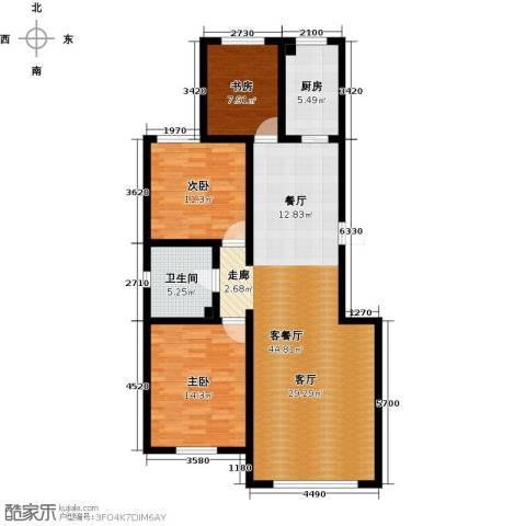 弘域欣源3室1厅1卫1厨120.00㎡户型图