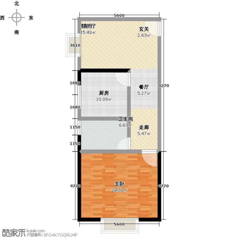 锦达豪庭78.67㎡D户型1室1厅1卫
