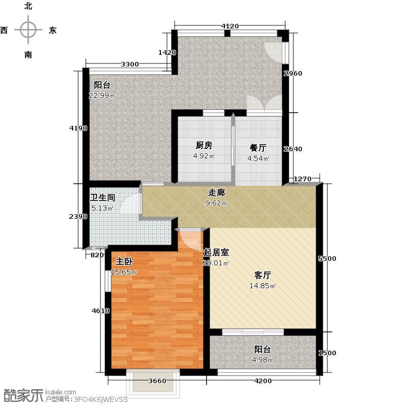 大地12城二期--朗琴园风景洋房一室二厅一卫 B区28号楼六层72㎡;A区4 5 9 10号楼六层72㎡户型
