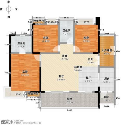 越秀星汇云锦3室0厅2卫1厨129.00㎡户型图