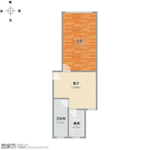 万荣小区1室1厅1卫1厨57.00㎡户型图