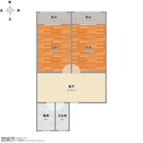 蔷薇二村2室1厅1卫1厨77.00㎡户型图