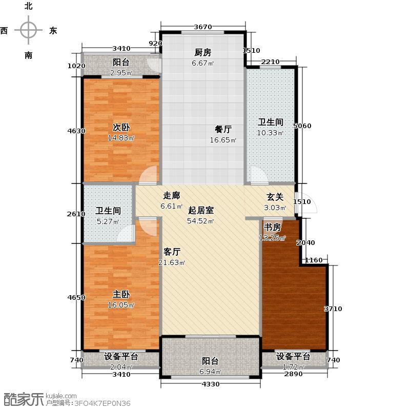 满城中景华庭137.00㎡B4户型三室两厅两卫户型3室2厅2卫