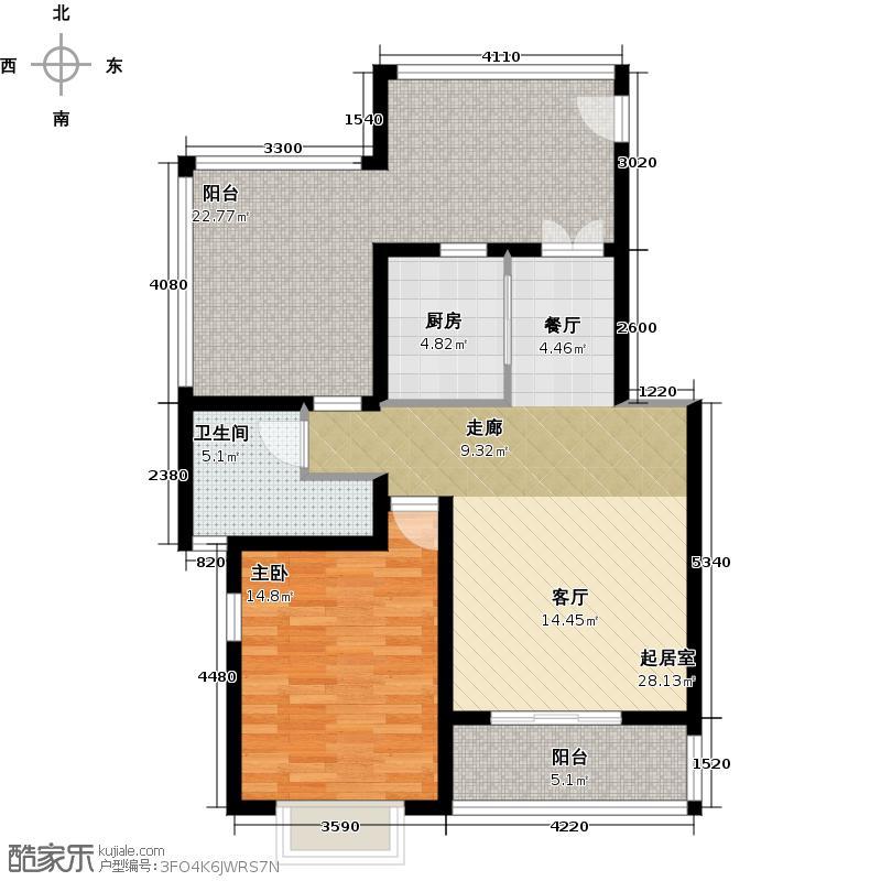 大地12城二期--朗琴园新青年公寓 一室二厅一卫 76.54㎡户型
