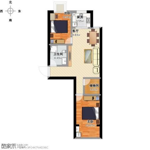 仁和佳苑2室1厅1卫1厨86.00㎡户型图