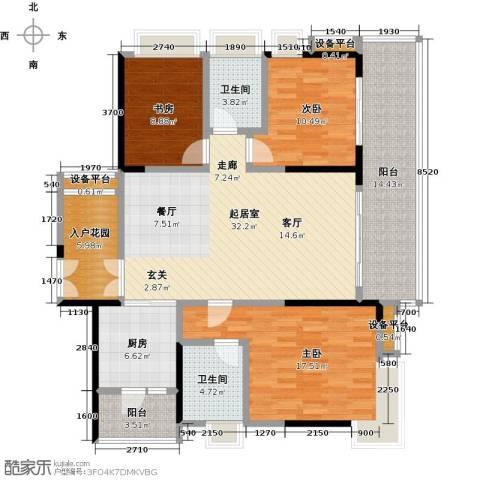越秀星汇云锦3室0厅2卫1厨125.00㎡户型图