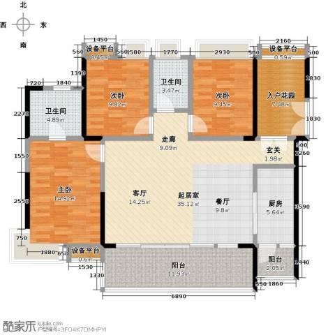 越秀星汇云锦3室0厅2卫1厨120.00㎡户型图