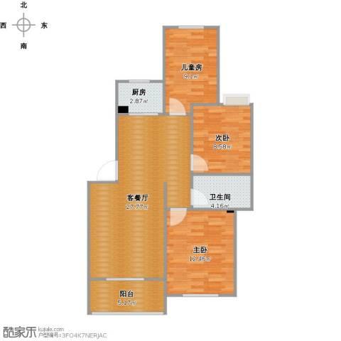 茗阳天下3室1厅1卫1厨95.00㎡户型图