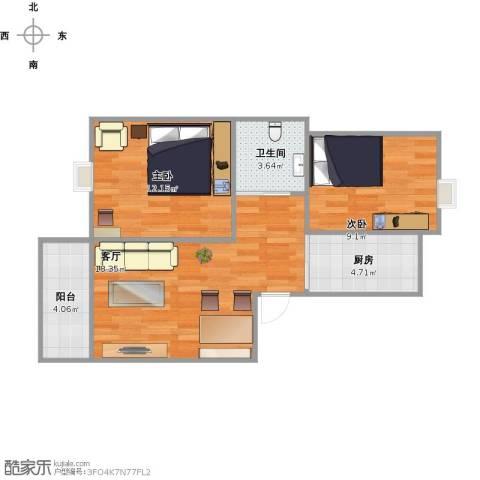 新顾村大家园C区2室1厅1卫1厨71.00㎡户型图