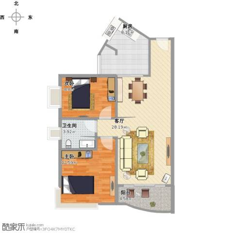 金地花园2室1厅1卫1厨91.00㎡户型图