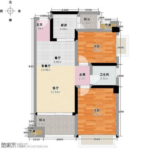 幸福湾2室1厅1卫1厨80.00㎡户型图