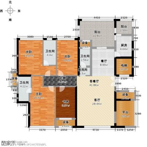 富邦新天地二期4室1厅3卫1厨196.00㎡户型图
