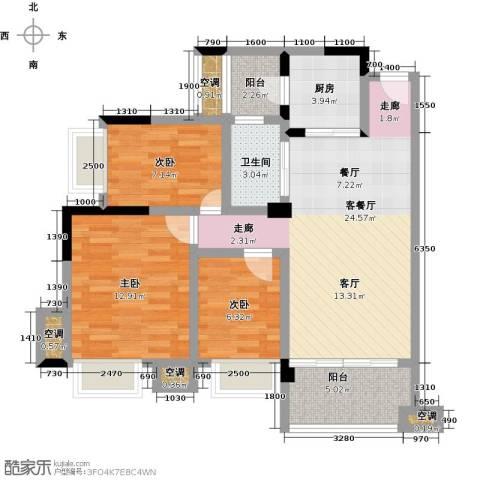 幸福湾3室1厅1卫1厨88.00㎡户型图