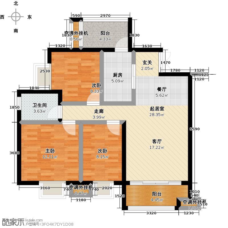 尊德天城三期90.00㎡38#、39#栋 实用三房户型3室2厅1卫