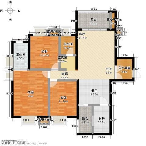 尊德天城三期3室0厅2卫1厨125.00㎡户型图