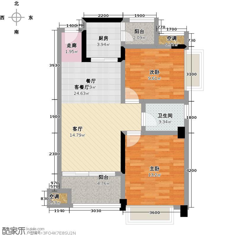 幸福湾81.00㎡1栋04单位81平三房户型图户型2室2厅1卫