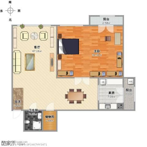 银河小区1室1厅1卫1厨129.00㎡户型图
