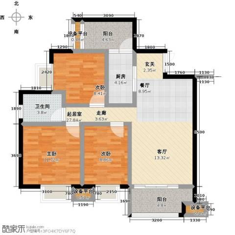 尊德天城三期3室0厅1卫1厨90.00㎡户型图