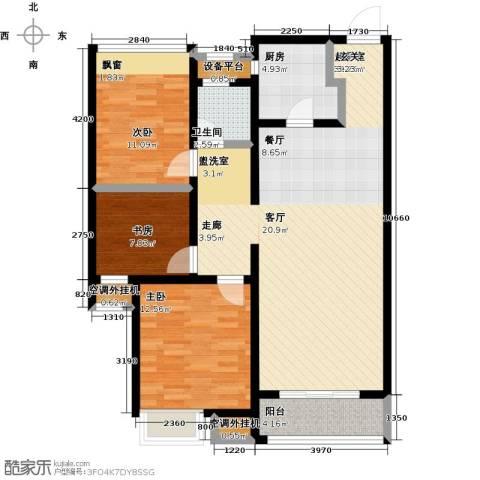 淄博华润中心凯旋门3室0厅1卫1厨122.00㎡户型图