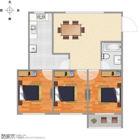 天皇堂弄公寓3室1厅1卫1厨77.00㎡户型图