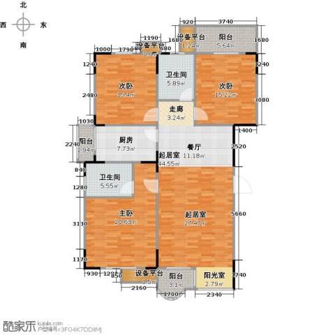 檀梨小区(三期)3室0厅2卫1厨133.00㎡户型图
