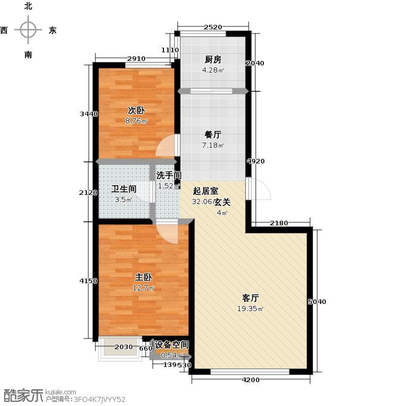 西山美郡88.40㎡西山美郡户型图 仅供参考,以销售现场为准户型2室2厅1卫