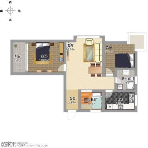 铭和苑3室1厅1卫1厨102.00㎡户型图
